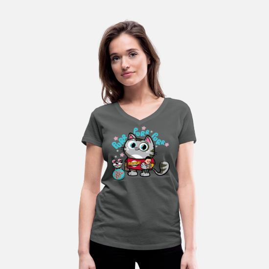 Big Bang T-Shirts - Frauen T-Shirt Softy Kitty - Frauen Bio T-Shirt mit V-Ausschnitt Anthrazit