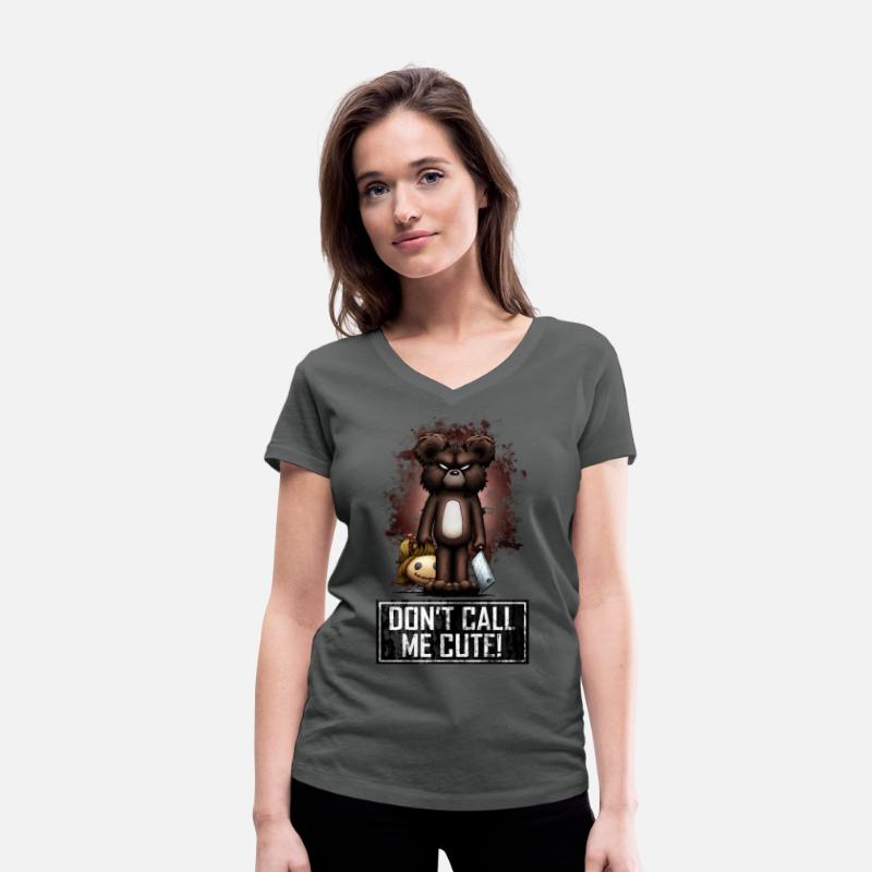 Halloween T-shirts - Teddy - Don't Call Me Cute (Color) - T-shirt bio col V Femme charbon