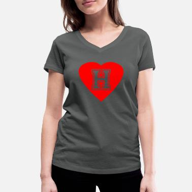 Heart letter H name initials gift idea - Women's Organic V-Neck T-Shirt by Stanley & Stella
