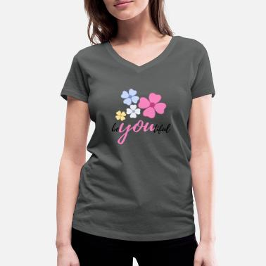 Floral Motive Floral motif beYOUtiful - Women's Organic V-Neck T-Shirt by Stanley & Stella