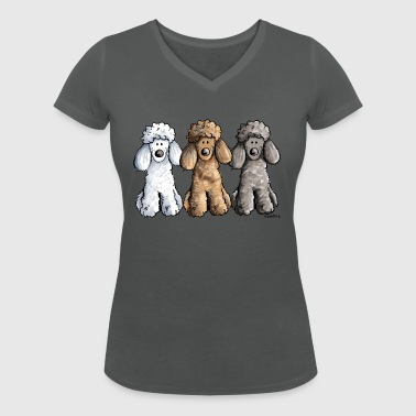 Best Friends Poodles - Women's Organic V-Neck T-Shirt by Stanley & Stella