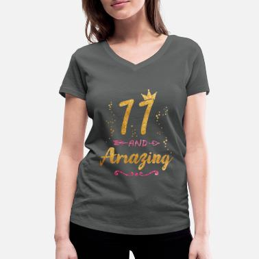 Girl 11th Birthday Gift for Girl 11 and Amazing Eleven - Women's Organic V-Neck T-Shirt