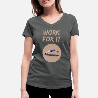 Pitcher Catcher Work For It Baseball America Catcher Pitcher - Women's Organic V-Neck T-Shirt