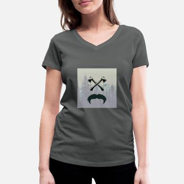 Glass Underwear Hipster responsibility beard glasses ax forest - Women's Organic V-Neck T-Shirt