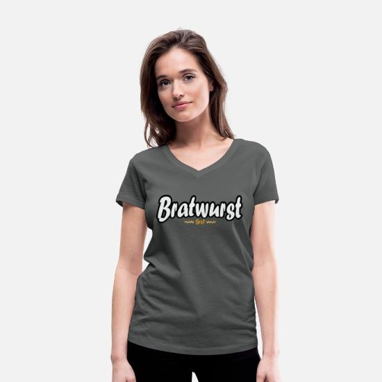 Gift Idea T-Shirts - Funny bratwurst with mustard gift shirt - Women's Organic V-Neck T-Shirt charcoal