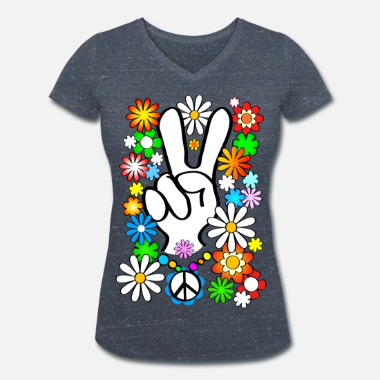 Flower T-Shirts - Flower Power & Peace (big) - Women's Organic V-Neck T-Shirt heather navy