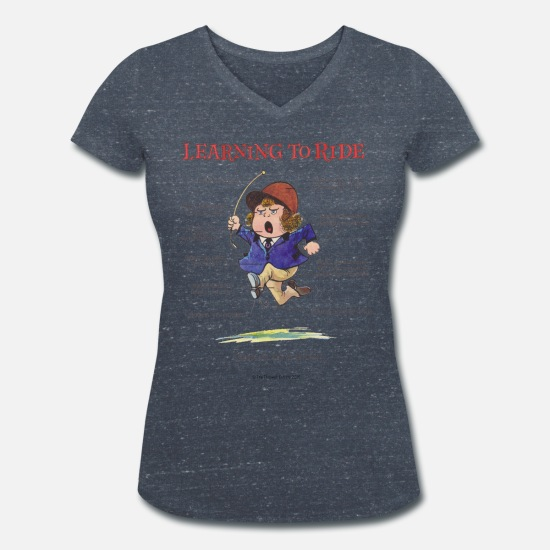 Thelwell T-Shirts - Thelwell - Learning to ride - Women's Organic V-Neck T-Shirt heather navy