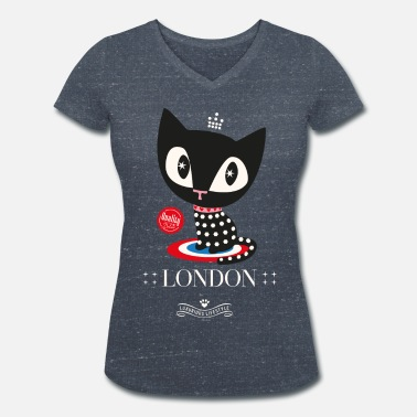 Black Pussy Pussy Deluxe Dotted Black Cat  - Women's Organic V-Neck T-Shirt by Stanley & Stella