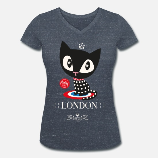 Mother's Day T-Shirts - Pussy Deluxe Dotted Black Cat  - Women's Organic V-Neck T-Shirt heather navy
