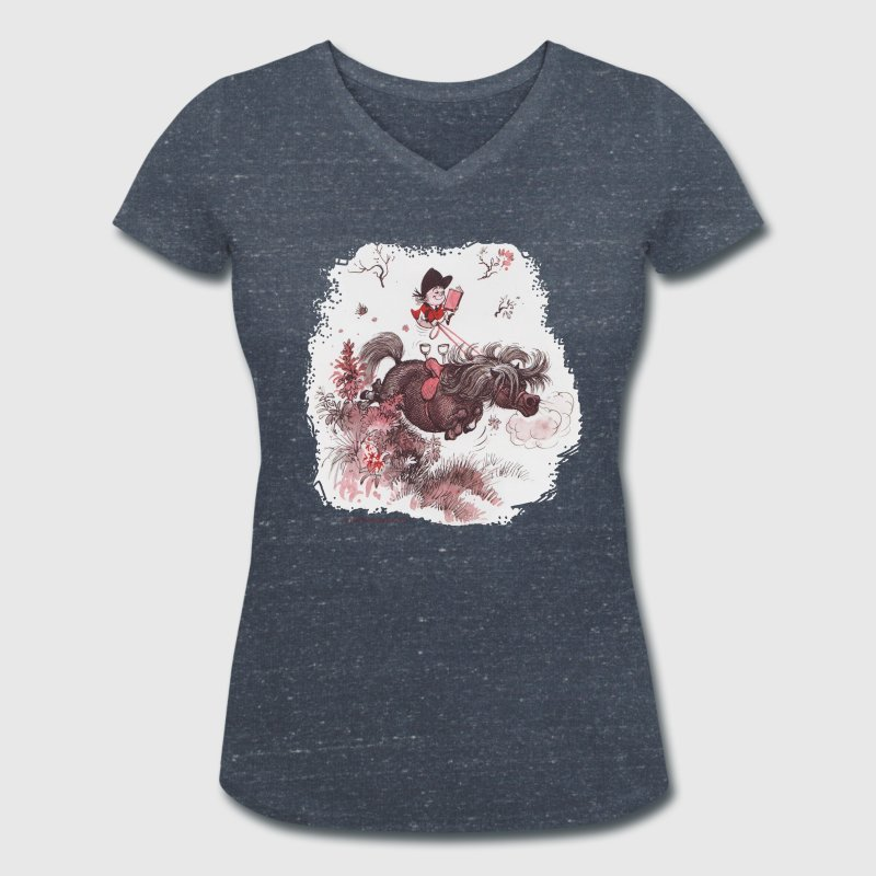 Thelwell - Pony outside in nature - Women's Organic V-Neck T-Shirt by Stanley & Stella