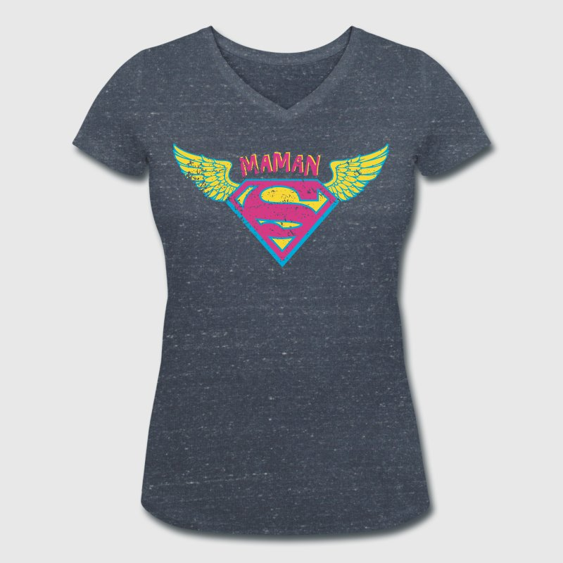 Superman Super Maman Ailes Rose - T-shirt bio col V Stanley & Stella Femme
