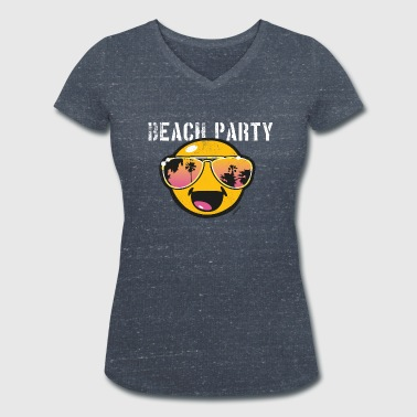 Smiley World Beachparty Teenager T-Shirt - Frauen Bio-T-Shirt mit V-Ausschnitt von Stanley & Stella