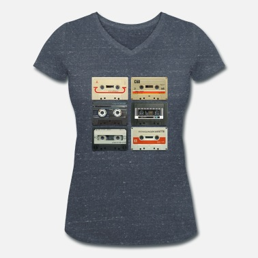 Retro vintage tape: 6 tapes - Women's Organic V-Neck T-Shirt by Stanley & Stella