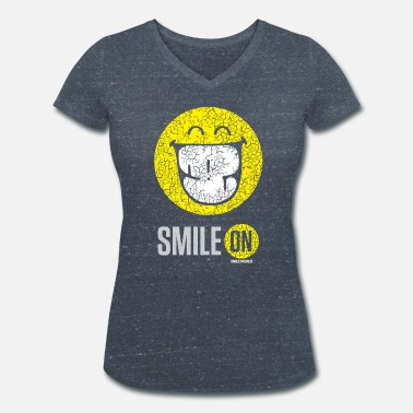 Smile SmileyWorld Put On Your Smiley Face - Vrouwen bio T-shirt met V-hals van Stanley & Stella