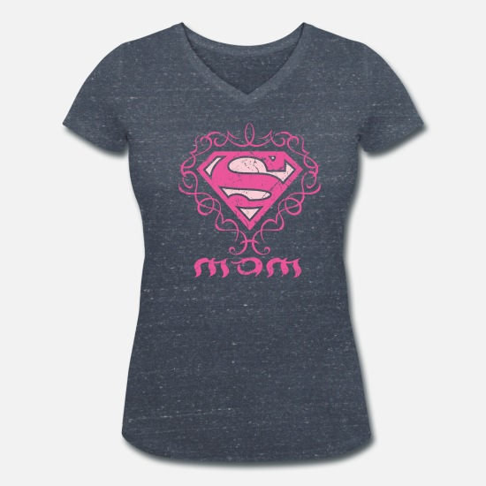 Officialbrands T-paidat - Superman 'S-Shield Mom' Women T-Shirt - Naisten v-aukkoinen t-paita meleerattu laivaston sininen