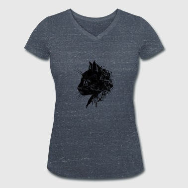 Black Cat Floral head of a cat - Women's Organic V-Neck T-Shirt by Stanley & Stella
