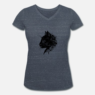 Black Floral head of a cat - Women's Organic V-Neck T-Shirt by Stanley & Stella