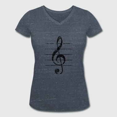 Violin key, musical key - Women's Organic V-Neck T-Shirt by Stanley & Stella