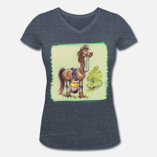 Officialbrands T-Shirts - Thelwell - Rider is falling down - Women's Organic V-Neck T-Shirt heather navy