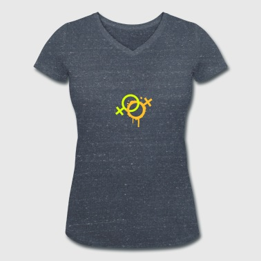 two female symbols - Women's Organic V-Neck T-Shirt by Stanley & Stella