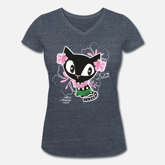 Cat T-Shirts - Pussy Deluxe Hawaii - Women's Organic V-Neck T-Shirt heather navy