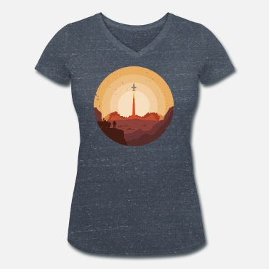 Spaceship Mars Mission 2050 Spaceship Takeoff - T-shirt bio col V Femme