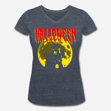Creepy castle and moon Halloween present - Women's Organic V-Neck T-Shirt