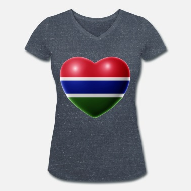 Geographic Heart (The Gambia) - Women's Organic V-Neck T-Shirt
