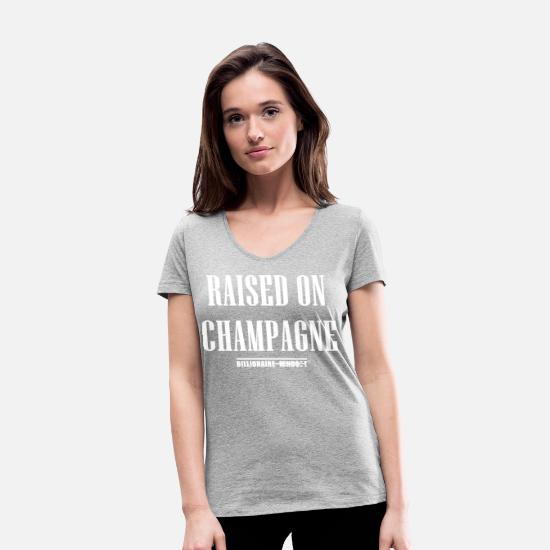 Rich T-Shirts - Raised On Champagne by BILLIONAIRE MIND $ ET - Women's Organic V-Neck T-Shirt heather grey
