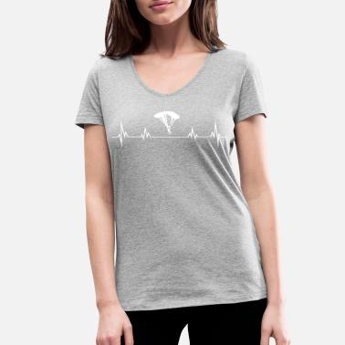 Paragliding Heartbeat Heartbeat paragliding - Women's Organic V-Neck T-Shirt by Stanley & Stella