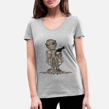 Funny Mummy Funny mummy with crow - Women's Organic V-Neck T-Shirt by Stanley & Stella