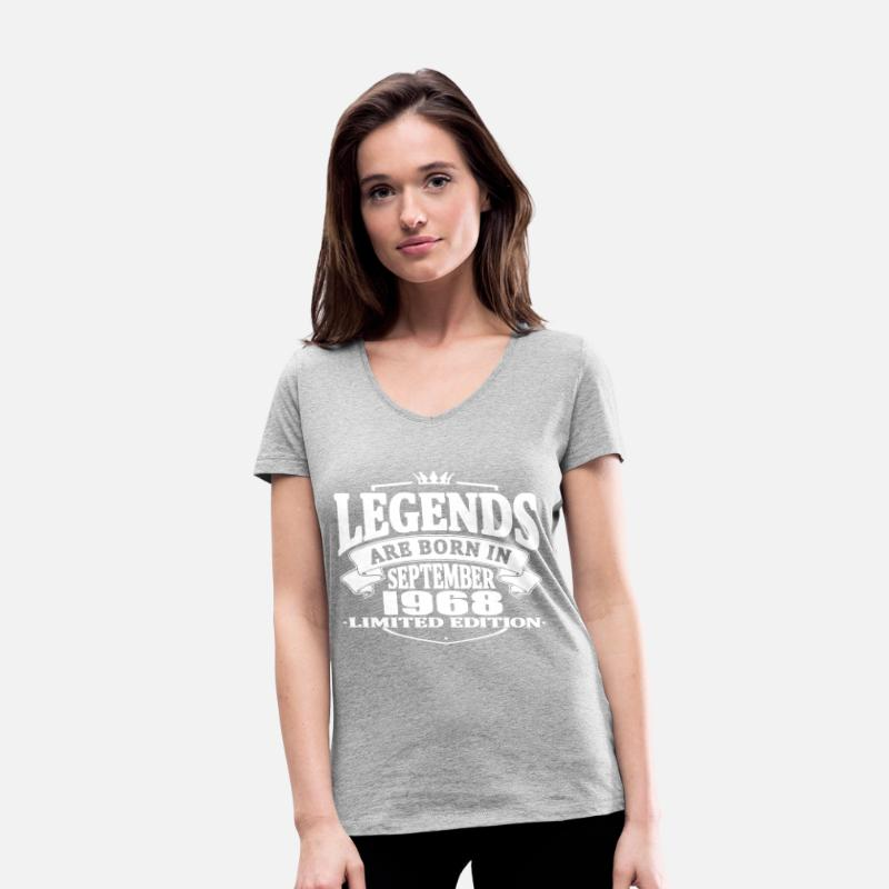 Born T-Shirts - Legends are born in september 1968 - Women's Organic V-Neck T-Shirt heather grey
