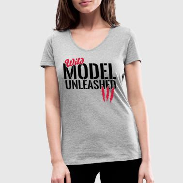 Clothcraft Wild model unleashed - Women's Organic V-Neck T-Shirt by Stanley & Stella