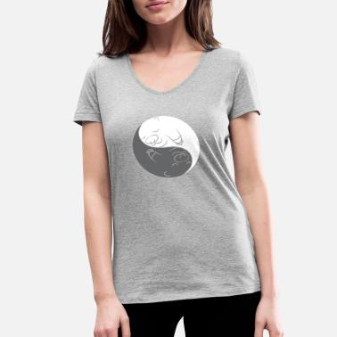 Confucianism Jing and Jang Otter Yin in love couples gift - Women's Organic V-Neck T-Shirt by Stanley & Stella
