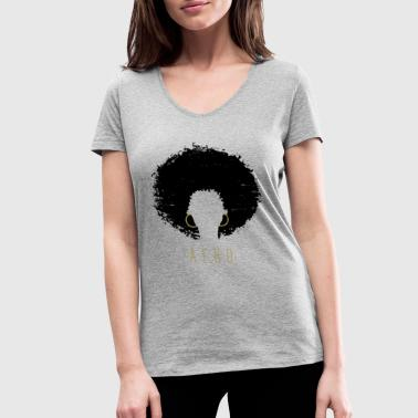Black Afro American Latina Natural Hair - Women's Organic V-Neck T-Shirt by Stanley & Stella