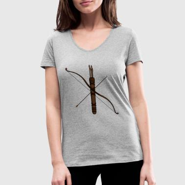bow and arrow - Women's Organic V-Neck T-Shirt by Stanley & Stella