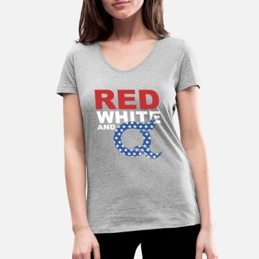 Super Q Super Cool Awecome Red White and Q - Women's Organic V-Neck T-Shirt by Stanley & Stella