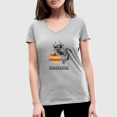 Catalan Independence Barcelona Catalan Catalan Catalan fan - Women's Organic V-Neck T-Shirt by Stanley & Stella