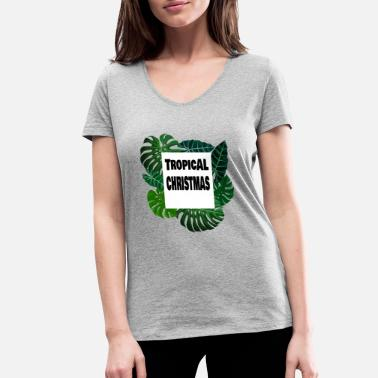Tropical Christmas Tropical Christmas - Women's Organic V-Neck T-Shirt by Stanley & Stella