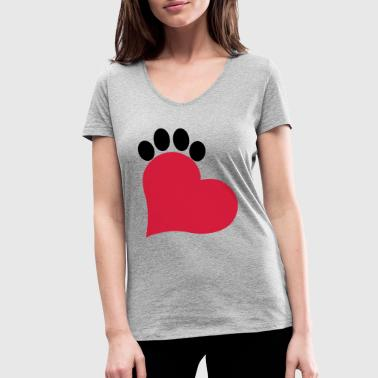 Soft Paw Heart and paw cat - Women's Organic V-Neck T-Shirt by Stanley & Stella