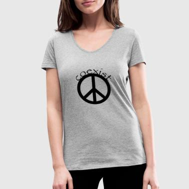 Coexist (Peace) - Women's Organic V-Neck T-Shirt by Stanley & Stella