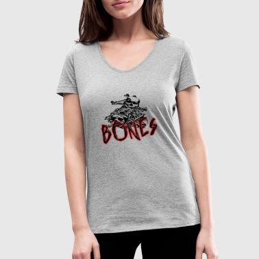 Skulle And Bones Bones bone skull skeleton - Women's Organic V-Neck T-Shirt by Stanley & Stella