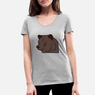 Brown Bear Bear head brown bear - Women's Organic V-Neck T-Shirt by Stanley & Stella