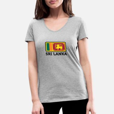 Indian Tiger National Flag Of Sri Lanka - Women's Organic V-Neck T-Shirt by Stanley & Stella