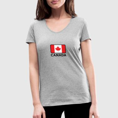Reds Canada Flag National Flag Of Canada - Women's Organic V-Neck T-Shirt by Stanley & Stella