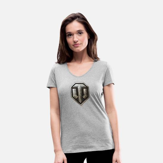 World T-Shirts - World of Tanks Logo - Women's Organic V-Neck T-Shirt heather grey