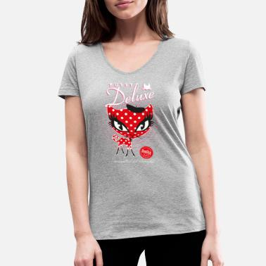 Pussy Deluxe Red Cat  - Women's Organic V-Neck T-Shirt by Stanley & Stella