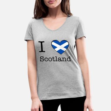 I Love Scotland I love Scotland - Women's Organic V-Neck T-Shirt by Stanley & Stella