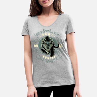 Lion Hunting Hunt or be hunted lion - Women's Organic V-Neck T-Shirt by Stanley & Stella