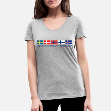 Scandinavia SCANDINAVIA | United Countries of Scandinavia - Women's Organic V-Neck T-Shirt